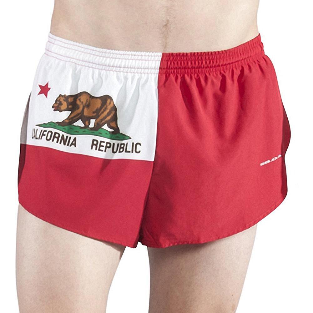 """BOA Men's 1"""" Elite Split Leg Print フラグランニングショーツ(1000CP) B00ZV5JNPW Medium California California Medium"""