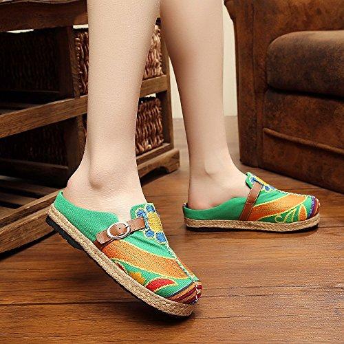 Zapatos y de Venta Exótico Antigüedades Zapatos Flor Verde Tailandés KIKIGOAL Ma Bordado Baotou Sol de de Cinturón Hebilla Lado Verano de Primavera AgpqWxB