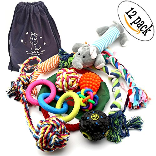 12 Pack Dog Chew Toys Rope Pet Toy with ball For Small to Medium Dogs (Pack Durable)