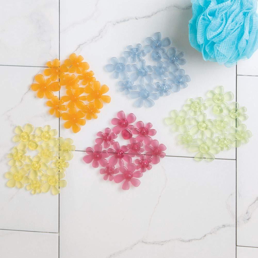 6 unidades Alfombras de ba/ño antideslizantes con dise/ño de flores Varios colores mDesign Alfombrillas de ba/ño transparentes Alfombra para ba/ñera con ventosas