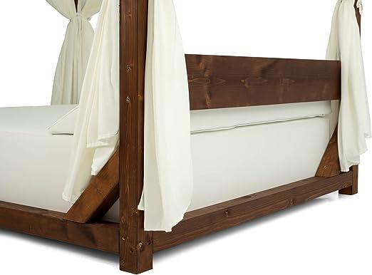 CAMA BALINESA de madera, techo, cortinas, colchón y cojines. Tapizado tejido náutico: Amazon.es: Jardín