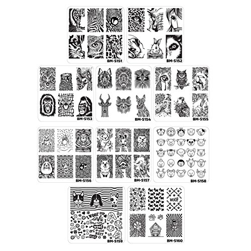(Maniology (formerly bundle monster) 10pc Nail Art Manicure Stamping Plates-Fuzzy and Ferocious, Set)