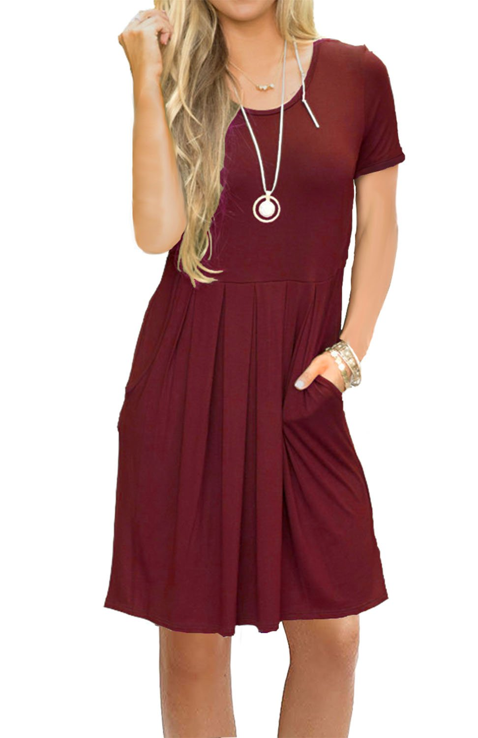 AUSELILY Women's Summer Short Sleeve Flowy Tunic Dress for Work Wine Red L