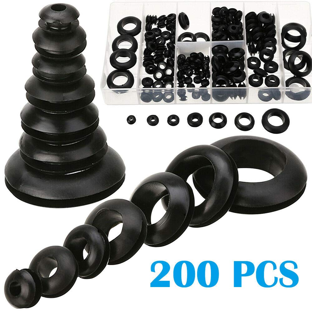 SENRISE 180 PCS Rubber Grommet Kit Electrical Conductor Gasket Ring Assortment Kit for Personal and Professional workshops Rubber Grommet garages and Plumbing Services
