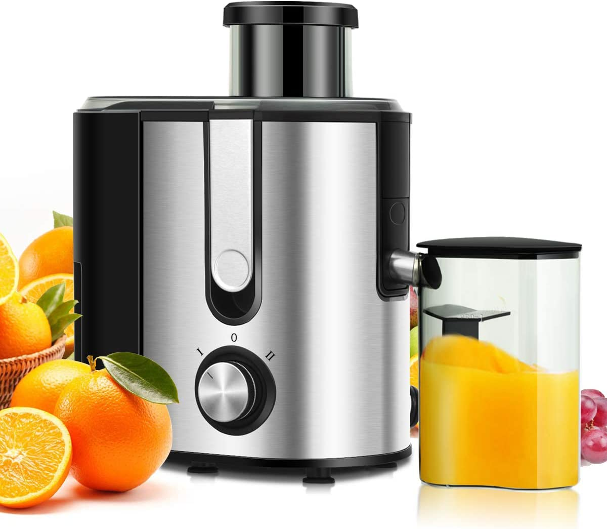 COSTWAY Juicer Machines with 2.5inch Wide Mouth, 400W Masticating Juicer Extractor with Dual Speed Control and Overload Protection, Stainless Steel Centrifugal Juicer with Anti-drip Design, BPA-FREE, Easy to Clean