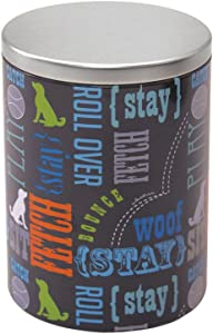 Paw Prints Large Tin Treat Jar, Wordplay Design, 5.25 x 7.5 x 5.25 Inches (37395)