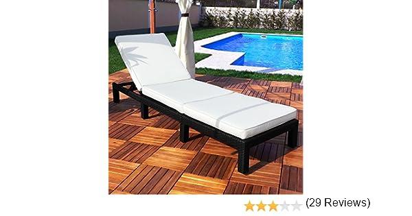 Tumbona de poliratán para jardín (efecto mimbre), Negro : Amazon ...