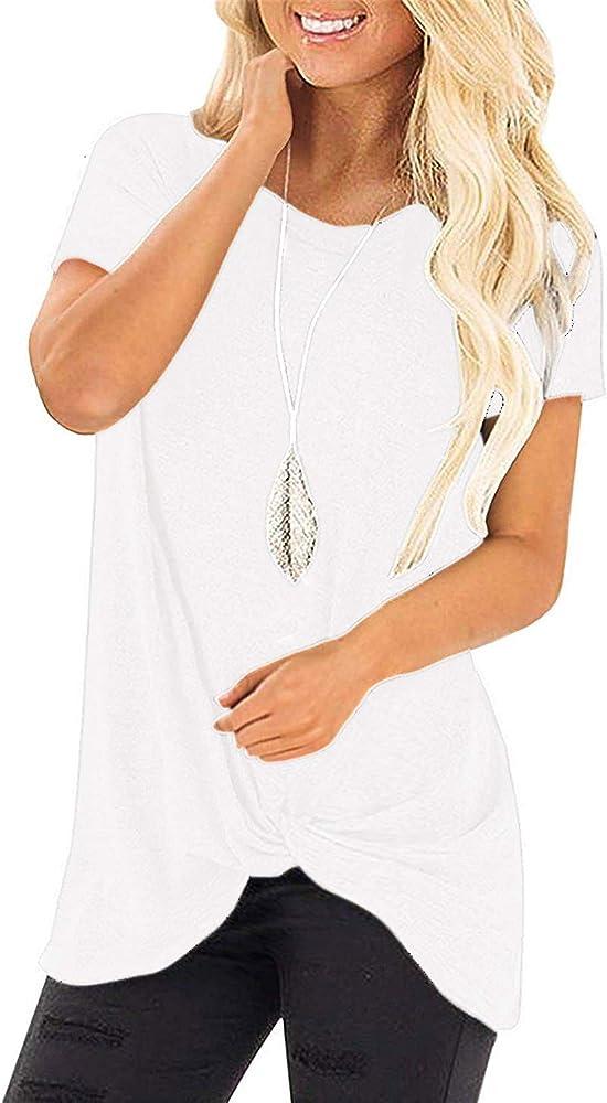 YOINS - Camiseta de manga larga para mujer, cuello redondo, sudadera, asimétrica Manga corta, color blanco. XS: Amazon.es: Ropa y accesorios