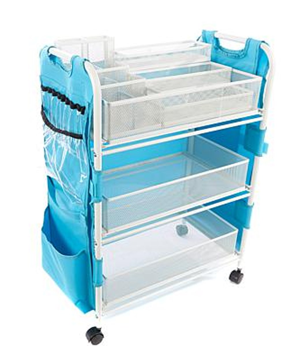 Totally-Tiffany Craft Cart with Attached 19-Pocket ~ (Turquoise) Apron