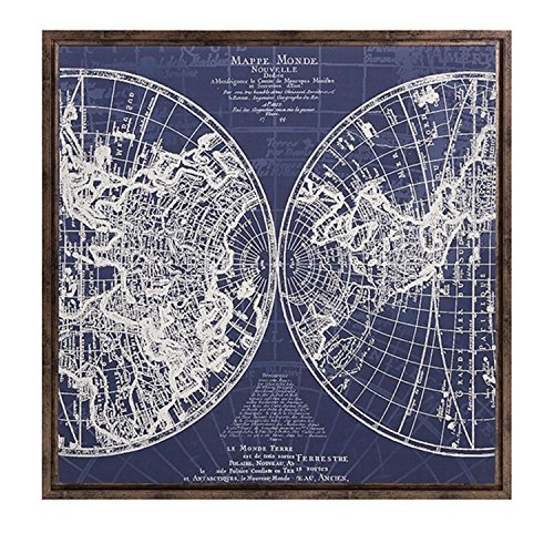 34'' Mappe Monde French Style Blue and White World Map Framed Canvas Square Wall Art Decor by CC Home Furnishings