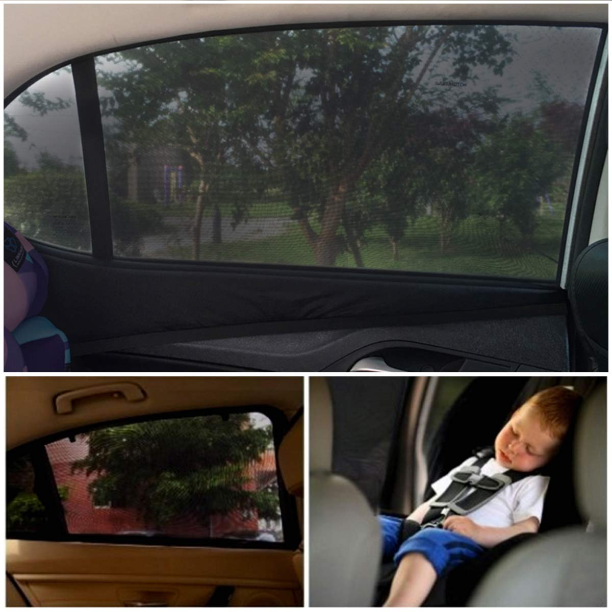 QJKJ 2 pieces Stroller sunshade Child protection baby adult pet Black,120 * 50cm L portable car sunshade accessories window sunshade block UV anti-mosquito dustproof