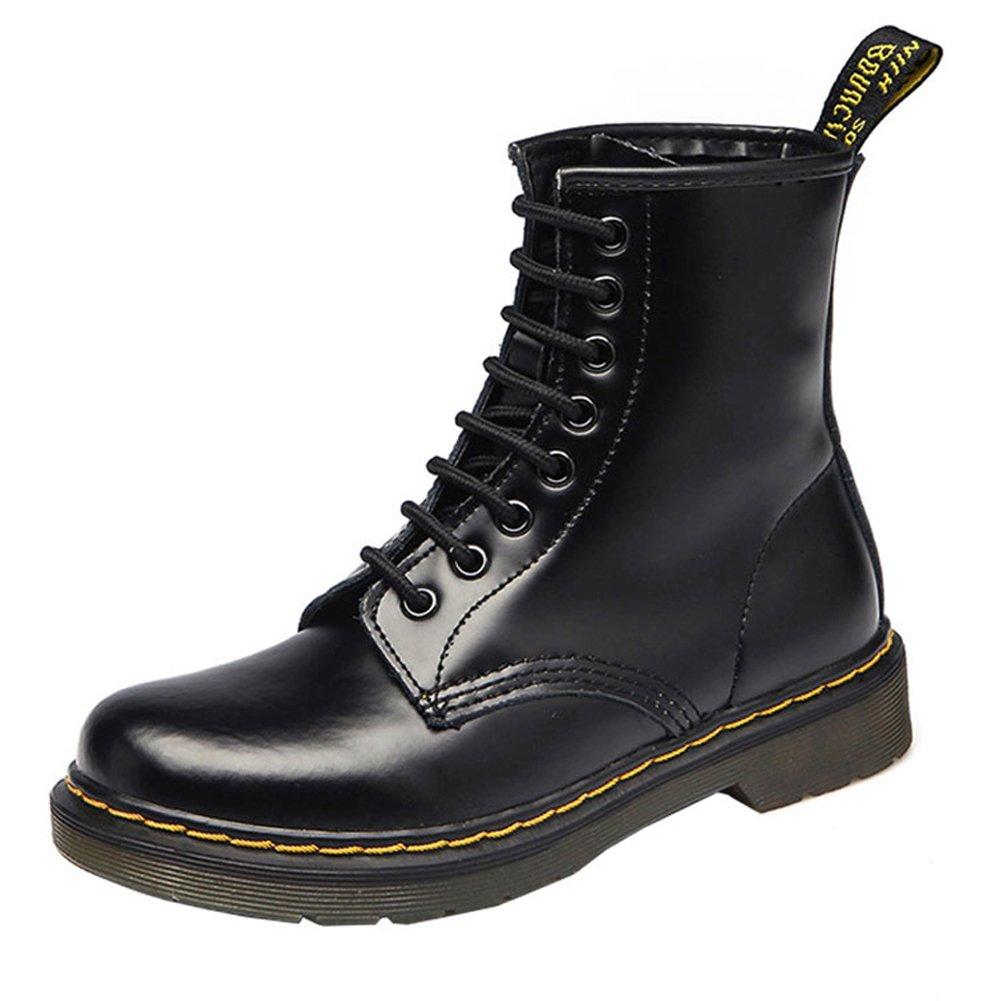 VOCOSI Women's 608 Retro Cap-Toe Low Heels Ladies Leather Ankle Combat Boots Black 42 CN