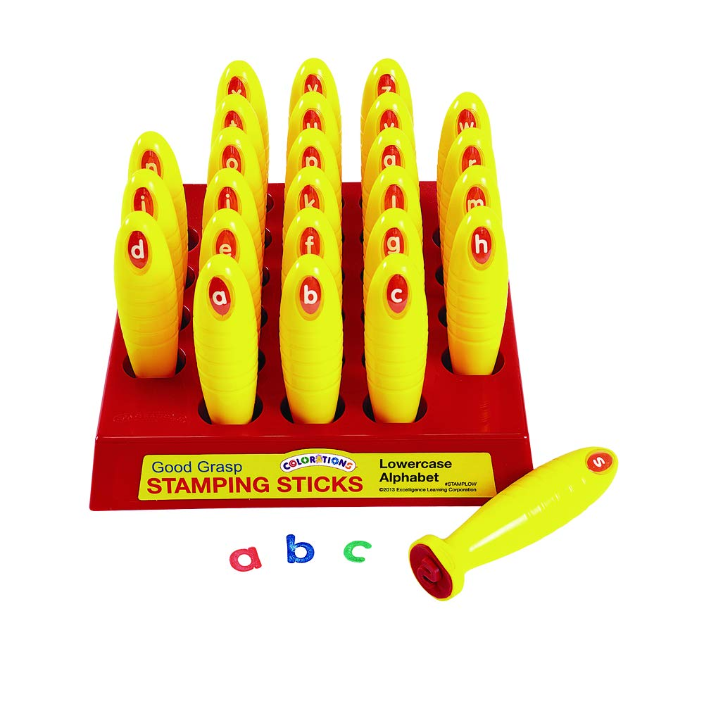 Colorations Good Grasp Stamping Stick Lowercase Letters A-Z (1 1/4'' x 5 1/8'') by Colorations