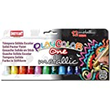 PlayColor 10121 - Caja de 12 temperas solidas 10 gramos, colores surtidos