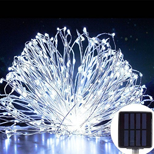 Price comparison product image MeiLiio Cool White Solar String Lights Outdoor LED,10M 33ft Waterproof LED Fairy Solar Lights for Home Garden Patio Holiday Decoration,Party Wedding,Indoor Festival Decorative (White)