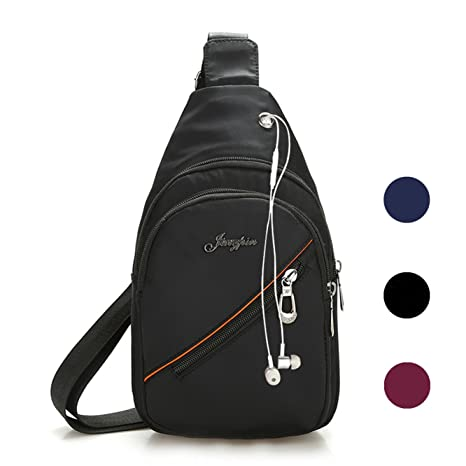 d8d2fb485b Veriya Waterproof Casual Cross Body Bag Outdoor Shoulder Sling Chest Pack  with Headphone Port for Hiking
