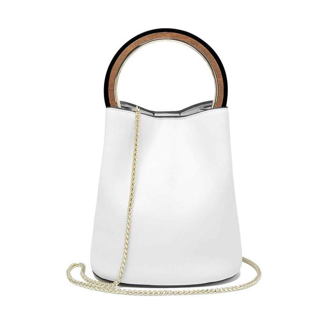 Maod Stylish Cuero Color Puro bolsos de mujer al Hombro Carteras de moda bolso bandolera Redondas bolsa de mujer (blanco): Amazon.es: Zapatos y complementos