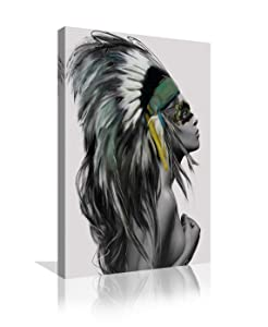 Urttiiyy Indian Girl Chief Native American Canvas Wall Art Girl Colorful Feathered Women Prints Home Decor Decals for Living Room Bedroom Bathroom Decor Framed Ready to Hang