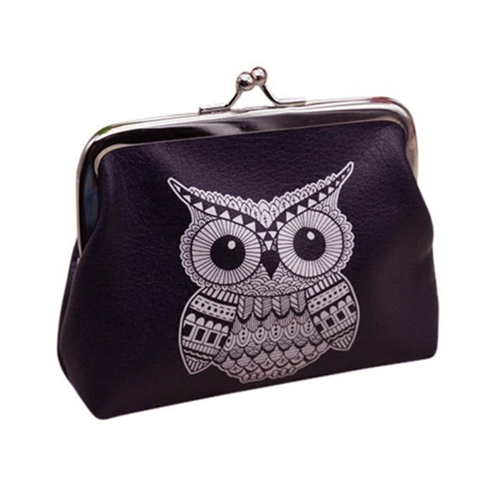 LEvifun Women Coin Purse Black Owl Clasp Flower Pouch Money Wallet Mini Bag Retro Vintage Handbag Credit Card Holder Key Ring Change Purse for Women Teen Girl (Black) charminglady-001
