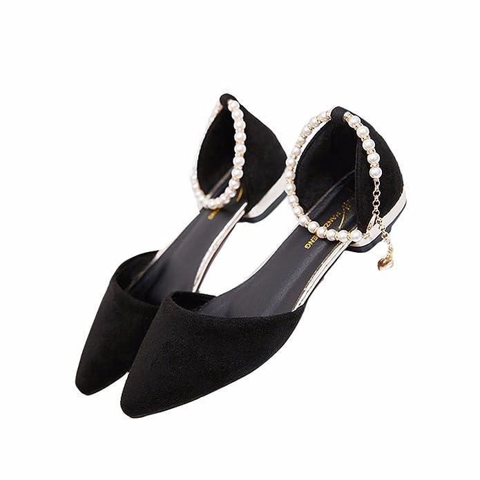 YUCH Les Souliers pour Un Mot Buckle Chaussures Pointues Confortable,Jred,40