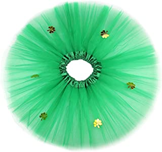BESTOYARD Girl Ballerina St Patricks Day Tutu Skirt Shamrock Clover Dancing Skirt 30cm