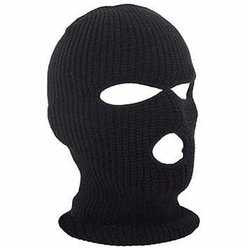 Pasamontañas Negro Tejer Mascara Esqui 3 Hoyos
