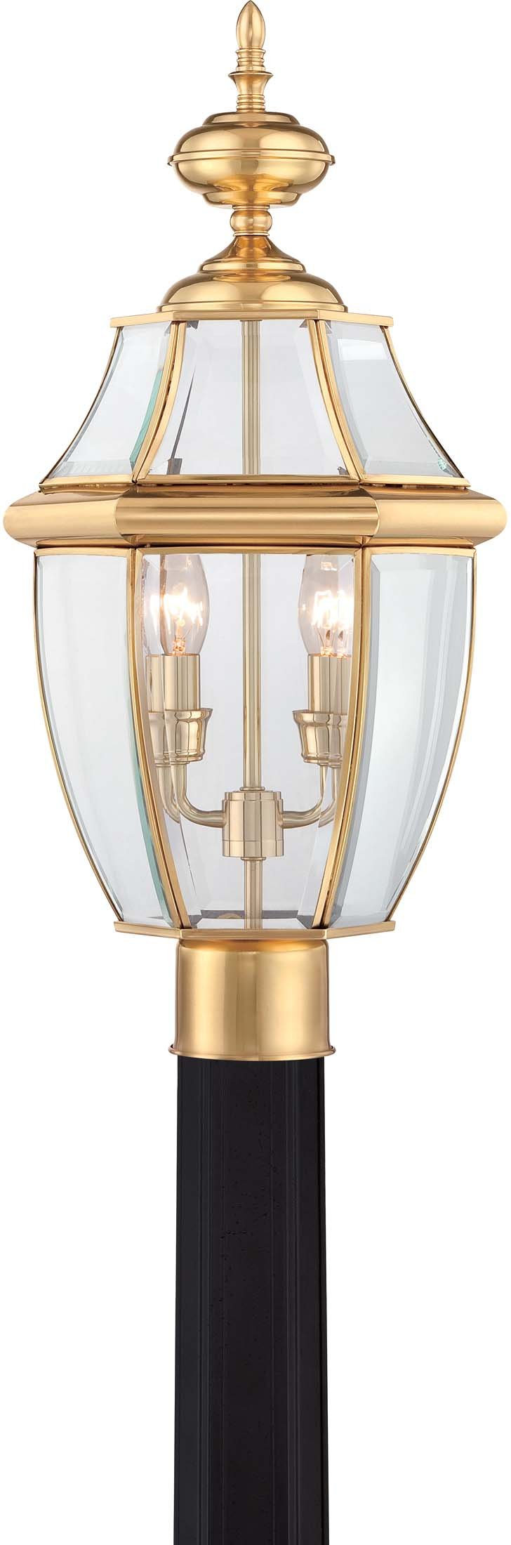 Quoizel NY9042B 2-Light Newbury Outdoor Lantern in Polished Brass by Quoizel