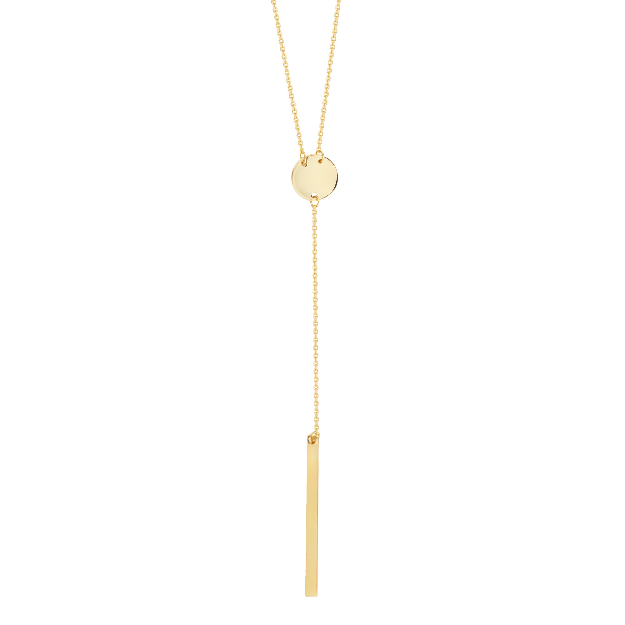 Round Disk and Bar Drop Necklace Lariat Style 14k Yellow Gold Adjustable Length by AzureBella Jewelry