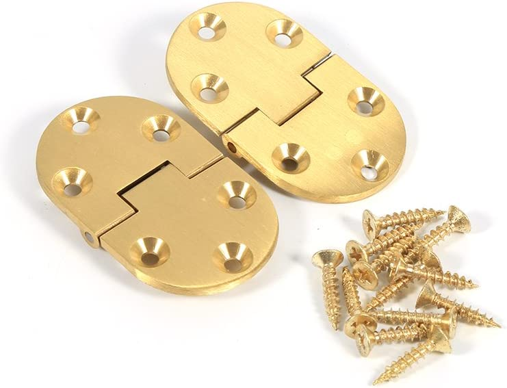 Brass Hinge, 2Pcs Degree Solid Brass Butler Tray Hinges Round Edge Flip Top Hinge with Screws for Butler Table Folding Table Furniture, 2-1/2inchx1-1/2inch Gold