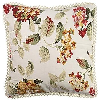 Floral de flores rojo verde crema Crochet Trim 18