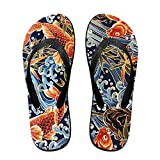Couple Flip Flops Gold Fish Print Chic Sandals Slipper Rubber Non-Slip House Thong Slippers