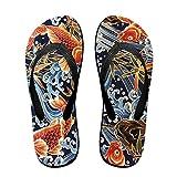 Couple Flip Flops Gold Fish Print Chic Sandals Slipper Rubber Non-Slip House Thong Slippers