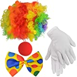 Clown Costume Set of 4, Jerbro Clown Rainbow Wig Clown Nose Bow Tie White Gloves for Clown Parties Carnivals Pretend…