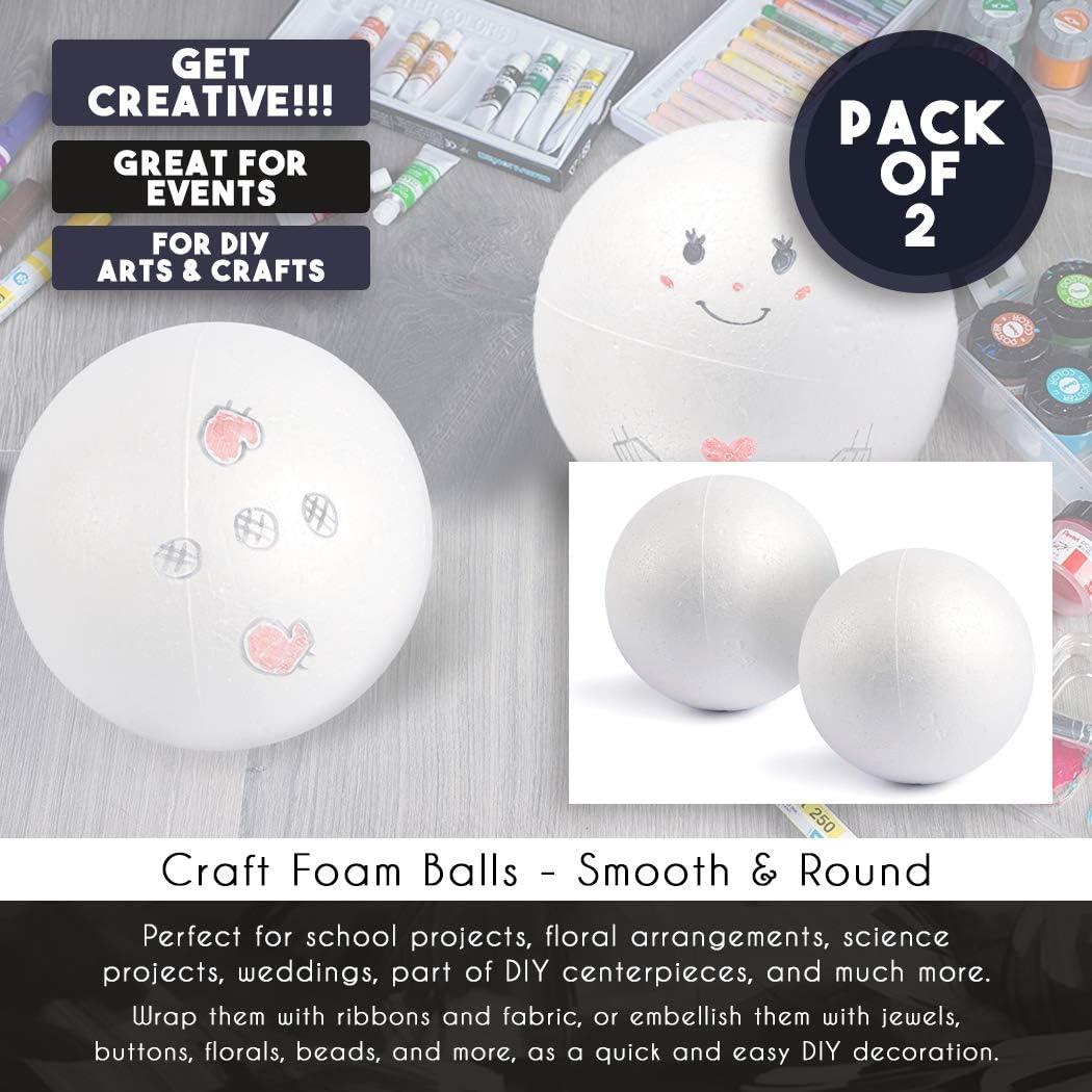 blanc - Grandes boules en mousse de polystyr/ène lisses et rondes pour lart et lartisanat diam/ètre de 6 pouces Boulles en Mousse 2-Pack