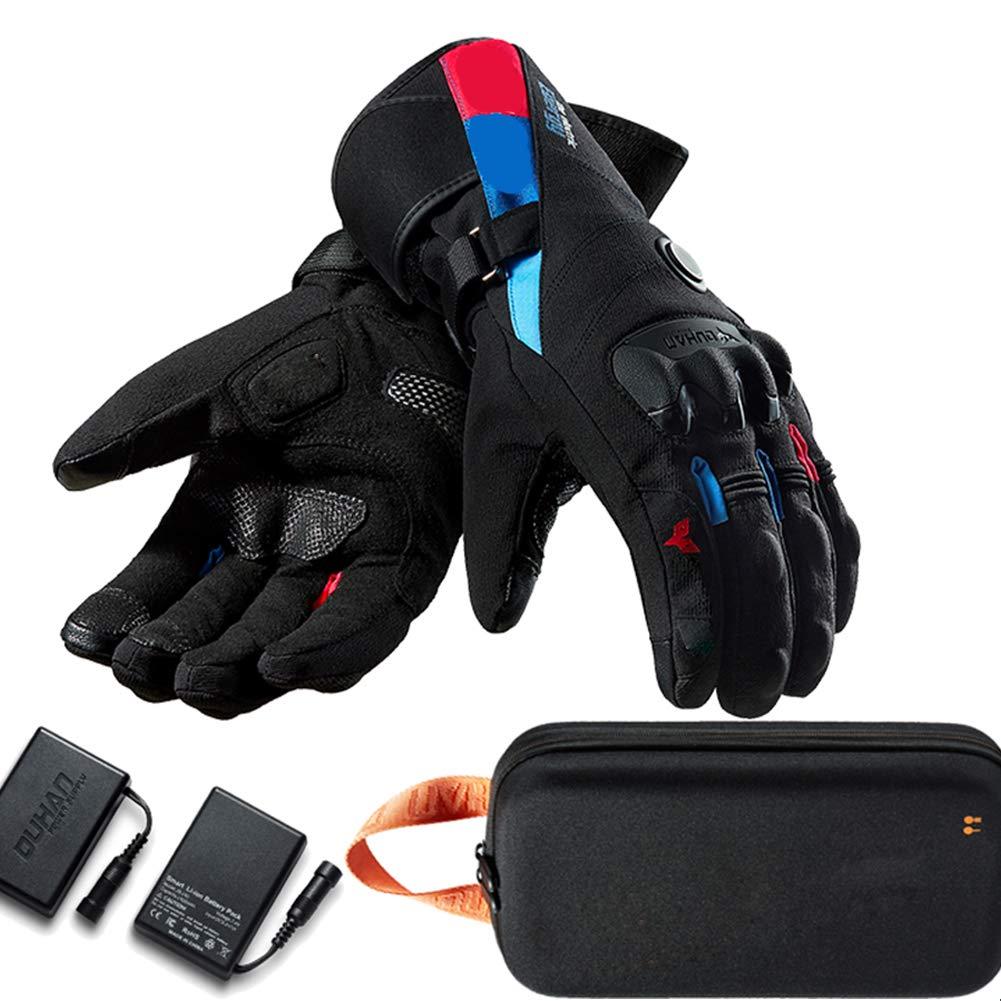 Blau OLDFAI Professionelle beheizte Motorradhandschuhe für Männer Frauen Wiederaufladbare wasserdichte, elektrische Handwärmer mit Akku-Touchscreen für Fahrer Skifahren Jagd Radfahren,Rot