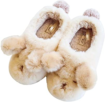 Womens Printed Flat Fluffy Ankle Boots Hotel House Winter Slippers Fashion Soft