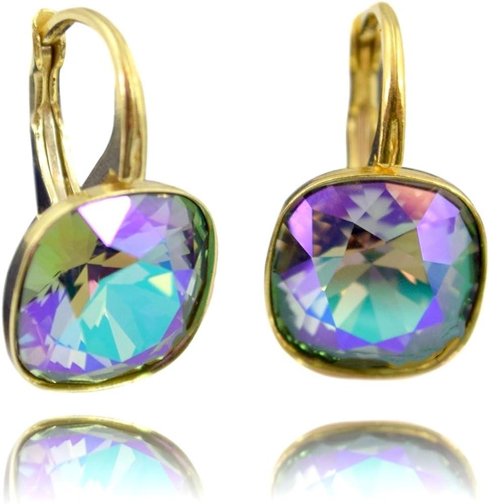 Crystals & Stones *muchos colores* *SQUARE* Plata 925 dorados 24K - Ohrringe con cristales de Swarovski® - Bonito Ohrringe damas Ohrhänger - maravillosa Ohrringe con Schmuckbox