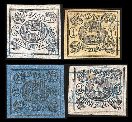 Goldhahn Braunschweig Nr. 5-8 gestempelt geprüft - Briefmarken für Sammler