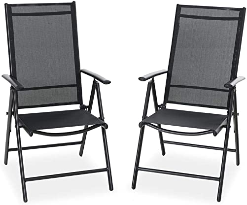 PHI VILLA 2 Set Patio Folding Sling Chair with Armrest, Adjustable Reclining Aluminum Frame Furniture Chairs for Outdoor Kitchen Deck Dining, Black