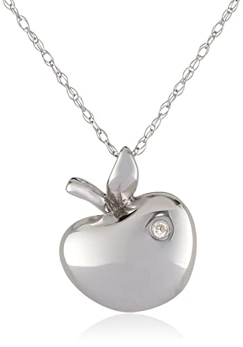 Amazon 10k white gold apple diamond pendant necklace 0006 10k white gold apple diamond pendant necklace 0006 cttw i j color i2 mozeypictures Image collections