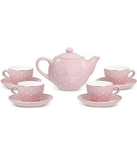 29b4de333e1 FAO Schwarz 1002763 9Piece Ceramic Tea Party for Kids Pink Polka Dot Play  Imaginative Toy