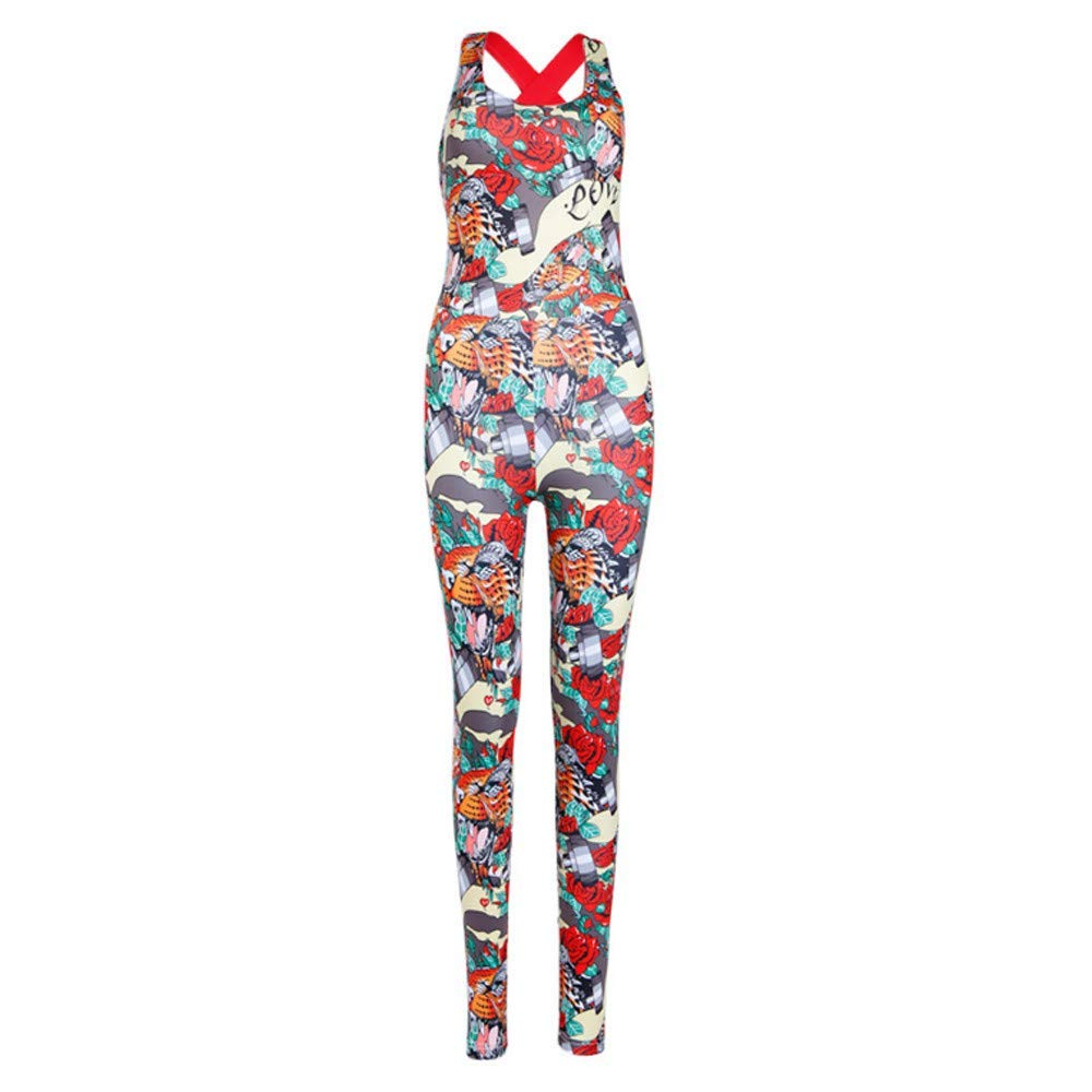 GWshop Ladies Fashion Elegant Jumpsuit Women Jumpsuits and Rompers Sexy,Backless Bandage Sport Yoga Fitness Jumpsuit Multicolor S