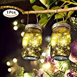 SUNNOW Solar Outdoor Hanging Lights, Mason Jar Decorative LED Lanterns String Fairy Lights for Garden Deck Patio Parties (Multicolour)