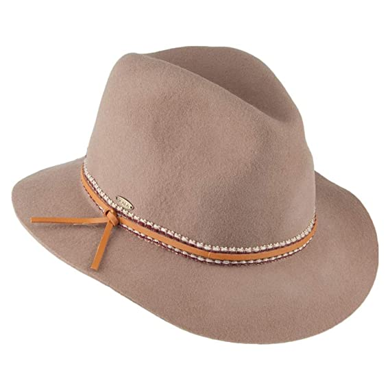 8f0439d07 Scala Hats Wool Felt Safari Fedora - Tan 1-Size: Amazon.co.uk: Clothing