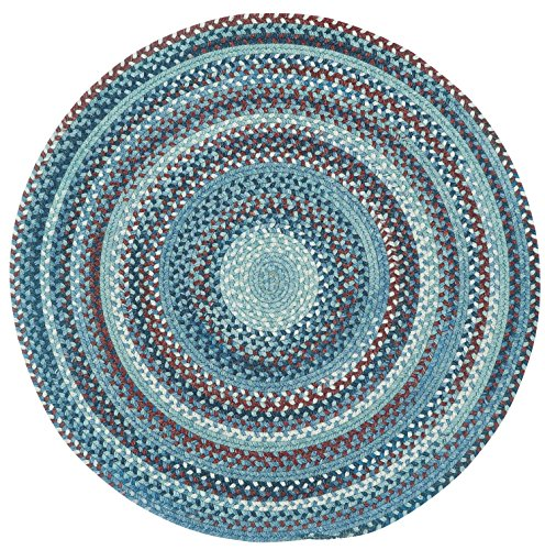 Capel Rugs Kill Devil Hill Round Braided Area Rug, 5', Blue Blue Braided Wool Rug
