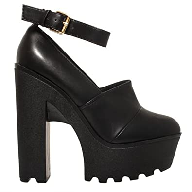 47d2e958f76 Perfect Me LADIES WOMENS CLEATED SOLE CHUNKY BLOCK HIGH HEELS ANKLE STRAP  GEEK SHOES SIZE  Amazon.co.uk  Shoes   Bags