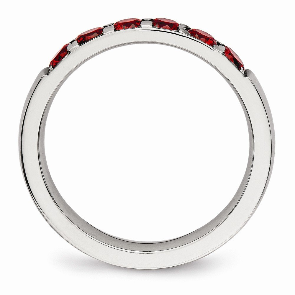 Stainless Steel Wedding Band Ring Polished 4 mm Red CZ 4.00mm Band