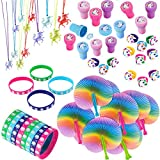 Unicorn Party Supplies and Favors for Boys and Girls | Toys and Novelty Items for 12 Kids | Foldable Fan, Stamper, Rubber Bracelet, Ring and Necklace