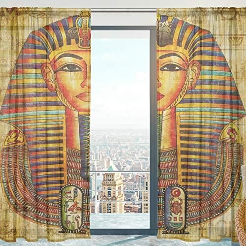 senya Sheer Voile Curtains for Bedroom Living Room, Egyptian Vellum Soft Sheer Curtains 84 Inches Long 2 Panels ()