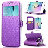 Galaxy S6 Edge Case, ArtMine Quilted Plain Color View Window Function PU Leather Flip Folio Book Style Protective Skin Stand Phone Case Kickstand Feature for Samsung Galaxy S6 Edge (Purple)